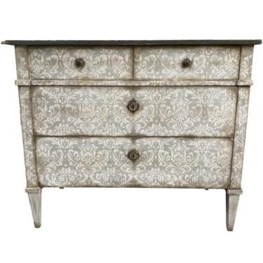 Italian Painted Commode With Damask Design - Early 20th C