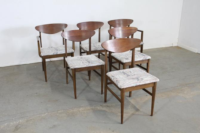 Set of 6 Mid-Century Modern Walnut Shell Back Dining Chairs by AnnexMarketplace