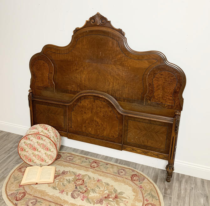Antique Full or Queen Headboard Footboard, Vintage Solid Wood Bed by ForeverPinkVintage