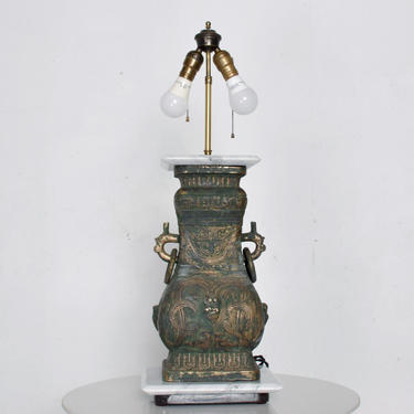 Elegant Asian Bronze Table Lamp Mid Century Modern style of James Mont by AMBIANIC