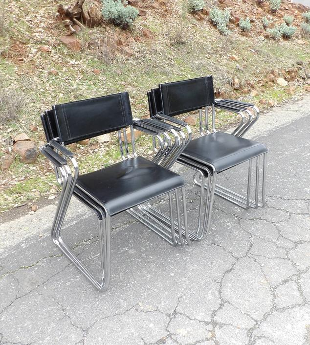 Mid Century Modern Marcel Breuer Knoll Tubular Chrome Leather Chairs Ergonomic Vintage Cesca Gavina Italian Made in Italy Dining Set of 6 by MakingMidCenturyMod