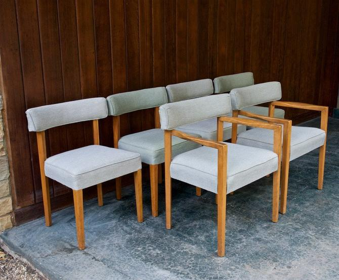 1950s Upholstered Dining Chair Set 6 Vintage Mid-Century Russel Wright Edward Wormley by BrainWashington