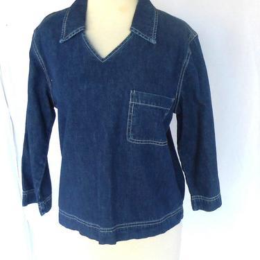 Vintage Denim GAP Shirt with Top Stitching GAP Blue Jeans Label by kissmyattvintage