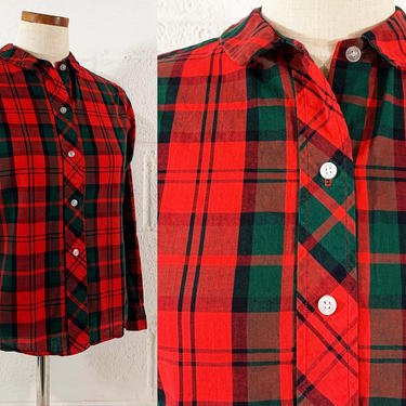 Vintage Coscob Plaid Cuffed Blouse Collared Lightweight Red Green Shirt Button Front Long Sleeve Top Collar 1970s 1960s 70s 60s Medium Large by CheckEngineVintage