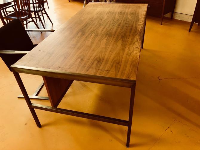 Mid Century Walnut & Brass Executive Desk