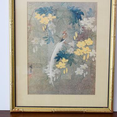 Vintage Asian Songbird Art Print by CapitolVintageCharm