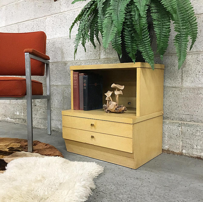 LOCAL PICKUP ONLY Vintage J.B. Van Sciver Nightstand Retro 1970's Yellow End Table or Plant Stand with Two Drawers and Shelf by RetrospectVintage215