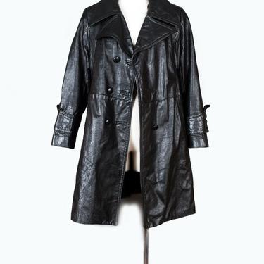 """Vintage Black Leather Jacket Coat Pirate 1960's 1970's MOD Style, 40"""" Chest, Overcoat, Spy Trench coat Wide Lapels Double Breasted steampunk by Boutique369"""