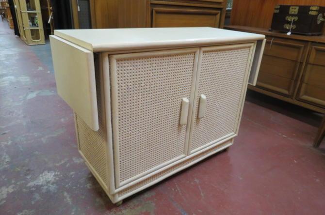 SALE! Vintage MCM Cane covered bar cart/server