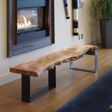 CUSTOM RESERVE for Kristine - live edge coffee table from urban salvage wood and recycled content steel - north   west table - natural edge by birdloft