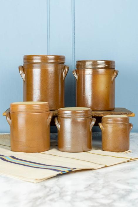 Vintage French Stoneware Boxed Storage Canister Set