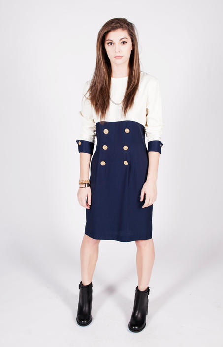 Vintage 1980s Navy & Ivory Sailor Dress by UnfadedEra