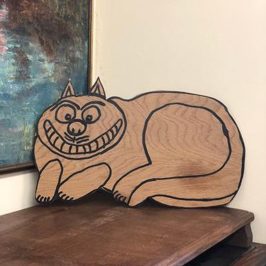 Vintage MCM Wood Hand-painted Smiley Lying Cat Banner Hanger Wall Decor Home Decor mid century modern retro farmhouse animal by BigWhaleConsignment