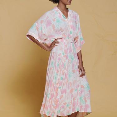 LANVIN dress flowy oversize draped midi watercolor floral print pink vintage 70s SMALL MEDIUM S M by shoprabbithole