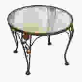 MCM Round Salterini Style Glass Top Accent Table