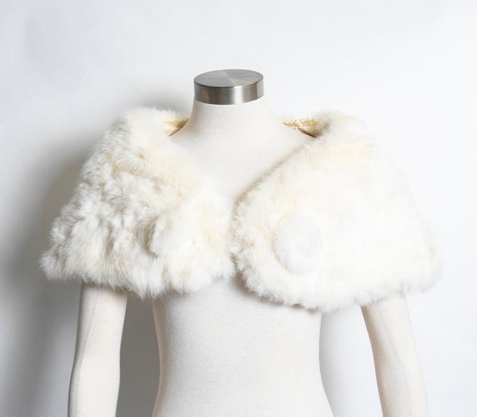 1950s Fur Stole White Rabbit Plush Fluffy Wrap S by dejavintageboutique