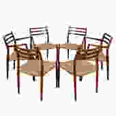 Set of 6 Rosewood Dining Chairs (2 Arm + 4 Side) by Niels Møller