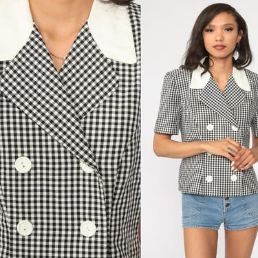 Black Gingham Blouse 80s Double Breasted Button Up Shirt Secretary Office Shirt Checkered Print Short Sleeve 1980s Top Vintage Medium by ShopExile