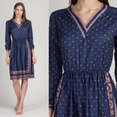 70s Blue Floral Long Sleeve Midi Dress - Small | Vintage Lady Carol Petites Fitted Elastic Waist Boho Dress by FlyingAppleVintage