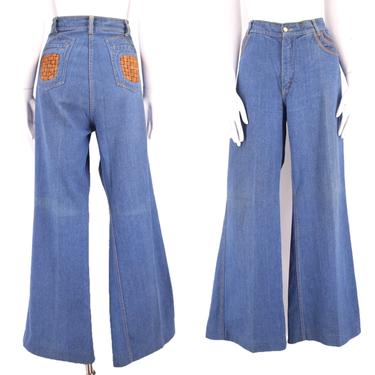 70s BRITTANIA high waisted denim bell bottoms jeans 36  / vintage 1970s leather trim flares pants  sz 15 XL by ritualvintage