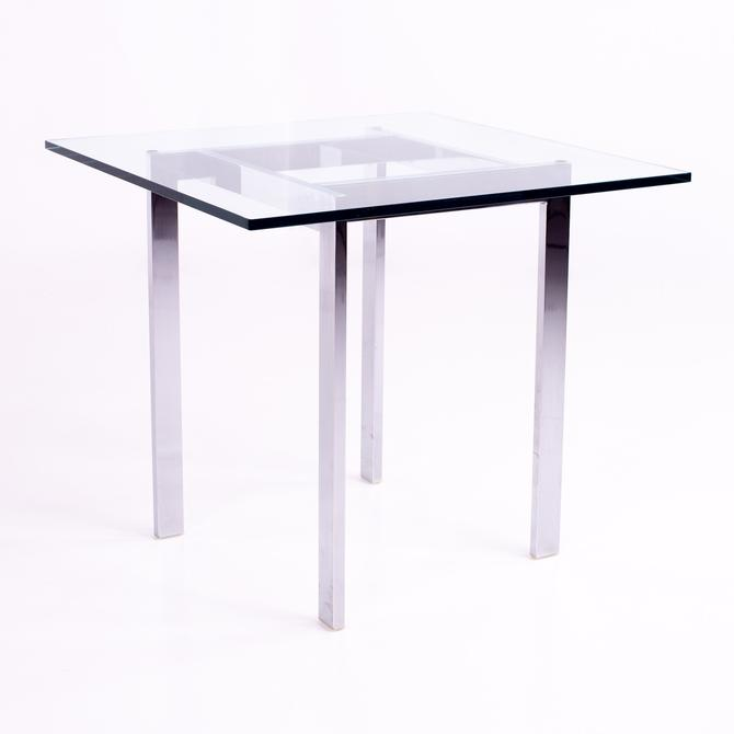 Milo Baughman Style Mid Century Chrome and Glass Side End Table - mcm by ModernHill