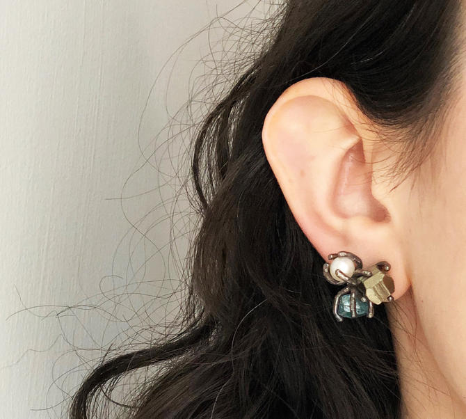 Gemstone Cluster Studs- Apatite, pyrite and pearl in oxidized black sterling silver claws by RachelPfefferDesigns