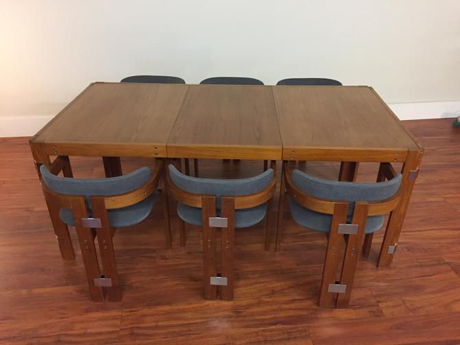 Teak Dining Table and Six Chairs With Chrome Accents and One Leaf by Vintagefurnitureetc