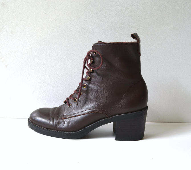 ede53929683ba Vintage Chocolate Brown Leather Boots with Heel/ Victorian Style ...
