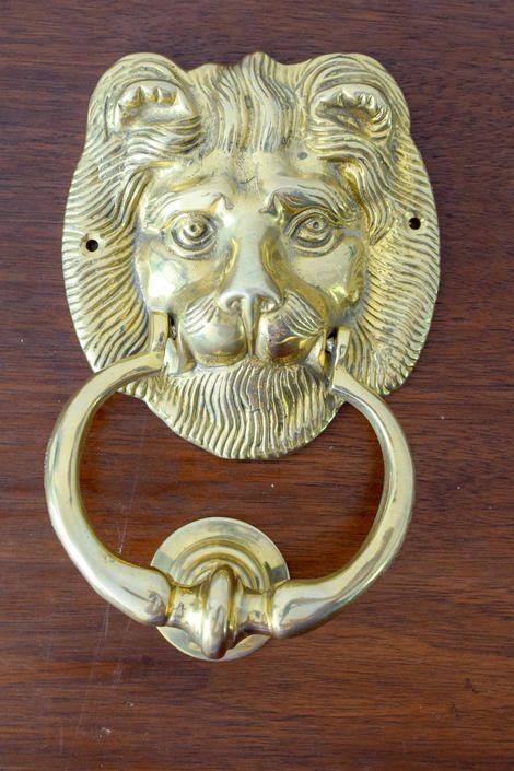 Brass Lion Head Door Knocker by CapitolVintageCharm