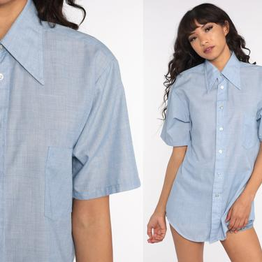 Button Up Shirt CHAMBRAY Shirt Jean 70s Blue Short Sleeve Hipster Oxford 1970s Cotton Button Down Distressed Lightweight Medium Large by ShopExile