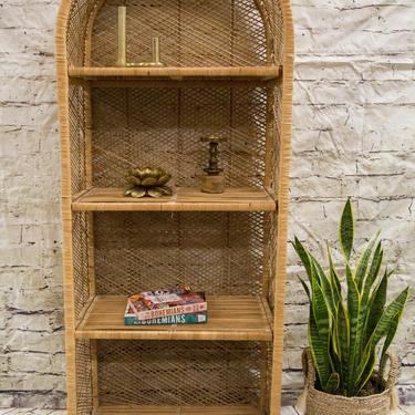 SHIPPING NOT FREE!!! Vintage Wicker Bookshelf/ Wicker Hutch/ Wicker Cabinet with removable shelves by WorldofWicker