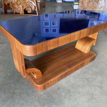 Rare Streamline Art Deco Mahogany Coffee Table w/ Cobalt Glass Top by HarveysonBeverly