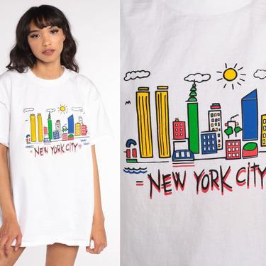 New York Shirt 90s NYC Shirt Retro TShirt New York City Vintage t Shirt 90s Travel Graphic Tee Large xl l by ShopExile