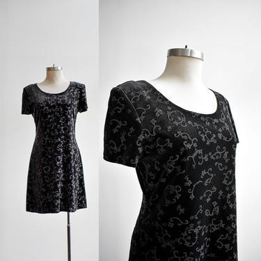 90s Black Velvet Cocktail Dress by milkandice