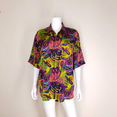 Vintage 90s Funky Paisley Shirt, Medium / Trippy Abstract Print Blouse / Unisex Short Sleeve Button Up Blouse / Glam Cocktail Party Shirt by SoughtClothier