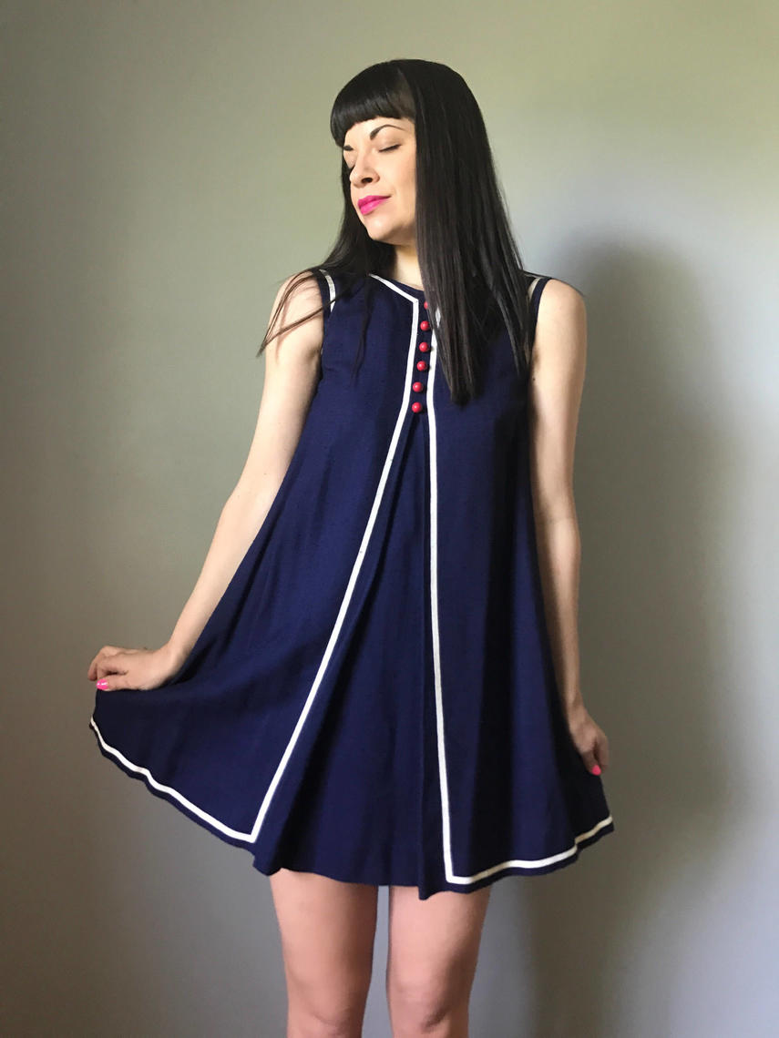 60s Mod Mini Dress Navy Shift Dress A Line Babydoll
