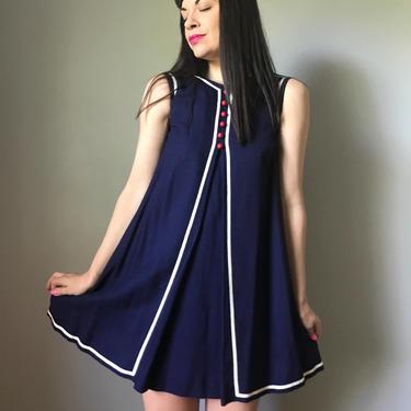 60s mod mini dress   navy shift dress   a-line babydoll dress by LosGitanosVintage
