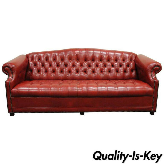 Vintage Red Leather English Chesterfield Style Button Tufted Sofa by Jasper
