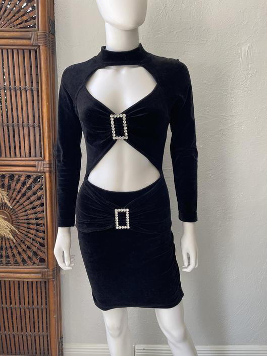 Vtg 80s 90s Contempo Casuals black body con cutout dress XS SM by AnimalVintageMiami