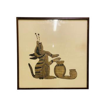 MCM Boho Batik Wall Art, Vintage Egyptian Batik Painting, Tiki bar Decor, Boho Decor by VivaLaVintagedotTX