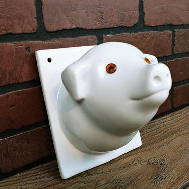 White Ceramic Pig Kitchen Towel Holder by RedsRustyRelics