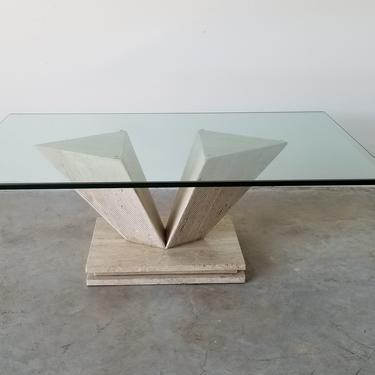 Italian Postmodern Travertine Marble Coffee Table With Glass Top by MIAMIVINTAGEDECOR