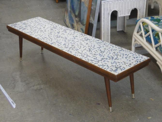 Mid Century Tile Top Bench