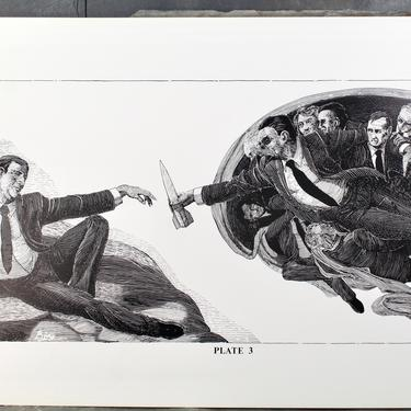 For RONALD REAGAN Fans! 1984 Sistine Chapel by Christopher Bing, 1985, Plate 3 of 6 Portfolio - 1984 Political Art by Bixley