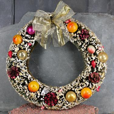 Vintage Christmas Wreath - Distinctive Indoor Holiday Wreath - Vintage Ornaments, Pine Cones & Fruit Bottle Brush Wreath  | FREE SHIPPING by Bixley