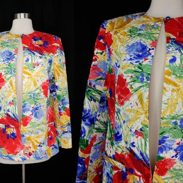 Vintage Eighties David Hayes for Neiman Marcus 10 Colorful Quilted Silk Jacket - 80s Colorful Silk Jacket by JanetandJaneVintage