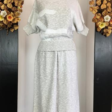 1980s sweater dress, vintage knit set, 80s skirt and top, size medium, J T Martin, 80s 2 piece set, beige batwing sweater, vintage knitwear by melsvanity