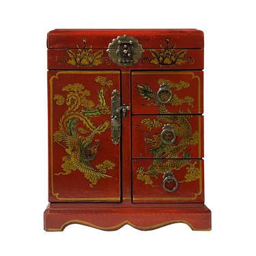 Chinese Oriental Red Dragon Phoenix Mirror Rectangular Jewelry Box ws1110E by GoldenLotusAntiques