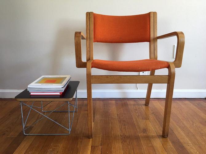 Bent Oak Desk Chair American Mid Century Modern Vintage Institutional Original Upholstery by CaribeCasualShop