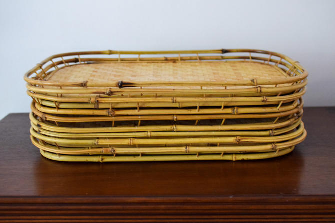 Set of 8 Vintage Bamboo/Rattan Trays by CapitolVintageCharm